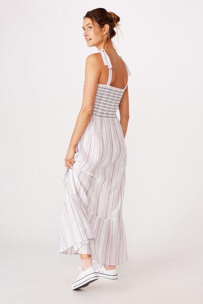 Woven Shae Shirred Midi Dress, STACEY MULTI STRIPE INFINITY