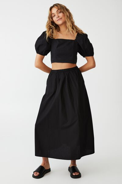 Woven Petite Lauren Maxi Skirt, BLACK