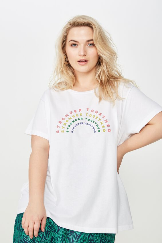 Curve Graphic Tee, STRONGER TOGETHER/WHITE