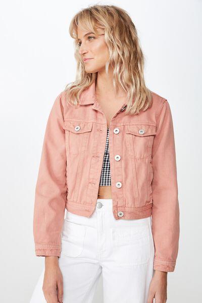 Girlfriend Fashion Denim Jacket, TERRACOTTA