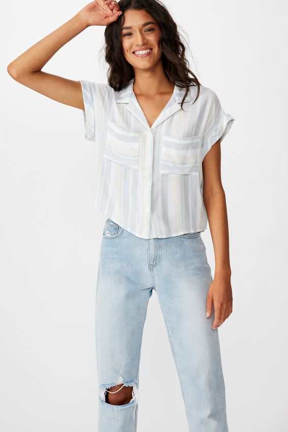 Emily Chopped Short Sleeve Shirt, KENTUCKY STRIPE BLUE