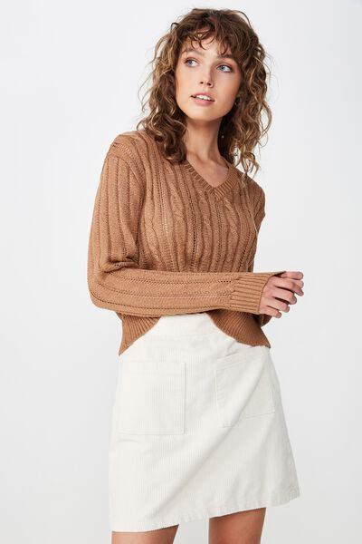 Cassie Cable Pullover, CAMEL