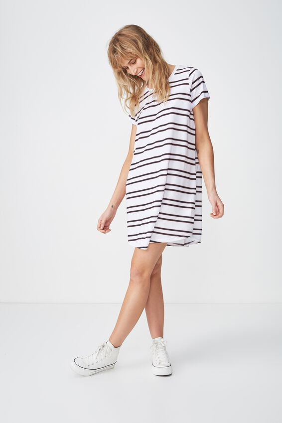 Tina Tshirt Dress 2, SALMA STRIPE WHITE HORIZONTAL