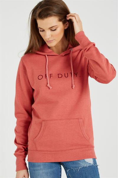 Delevingne Graphic Hoodie, OFF DUTY/FIREBRICK MARLE