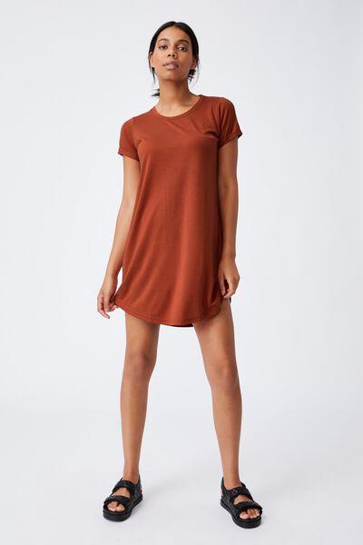 Tina Tshirt Dress 2, EARTHY RED