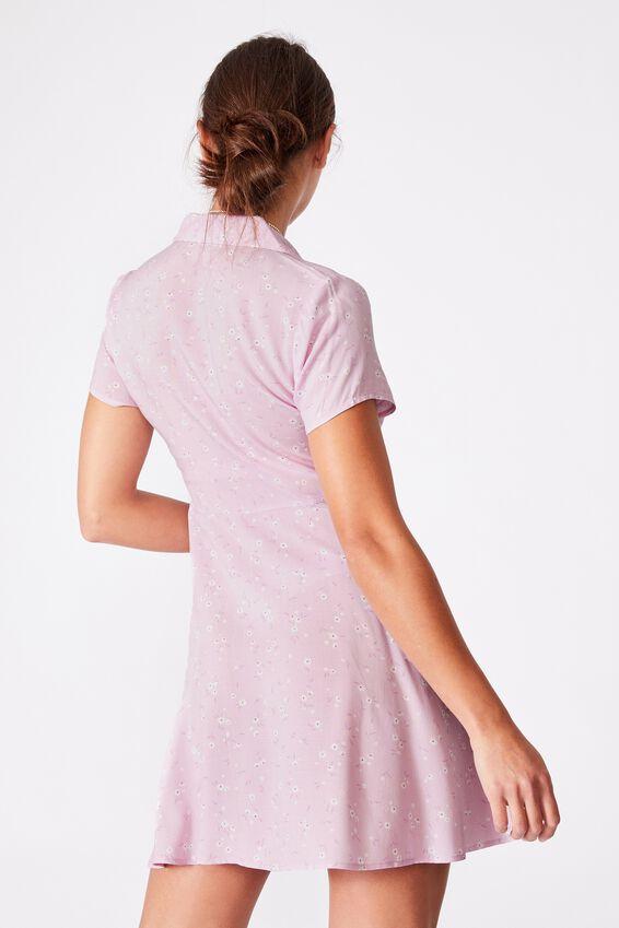 Woven Connie Button Down Mini Dress, LAYLA DITSY LILAC