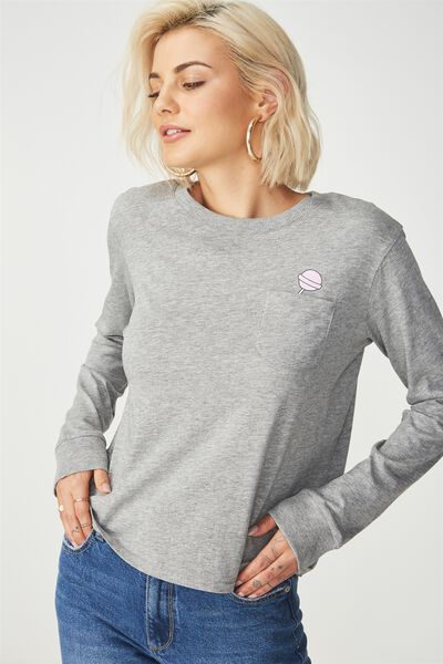 Tbar Tammy Chopped Graphic Long Sleeve Tee, SUCKER/GREY MARLE