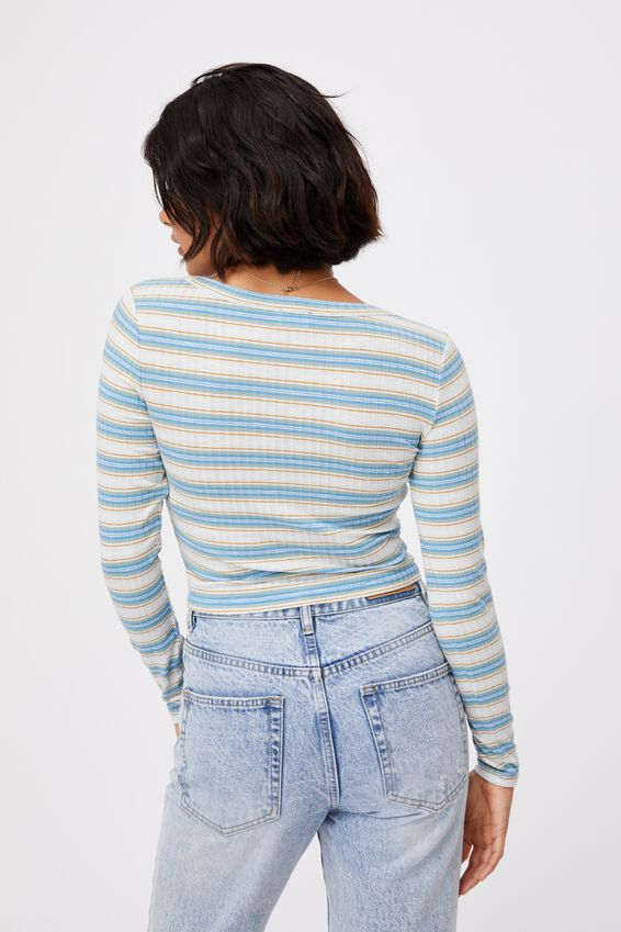 Reynor Gather Front Cardi, FRANKIE STRIPE ILLUSION BLUE