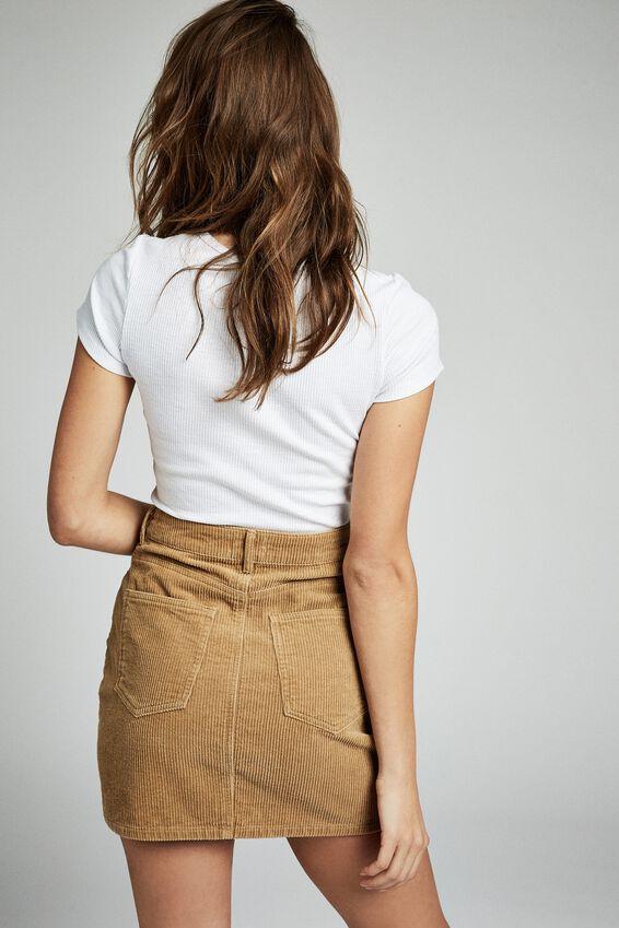 Woven Havana Cord Mini Skirt, CAMEL