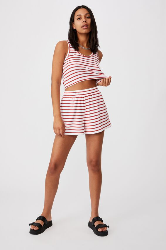 Terry Towelling Tank, TOLLY STRIPE WHITE/RED CLAY