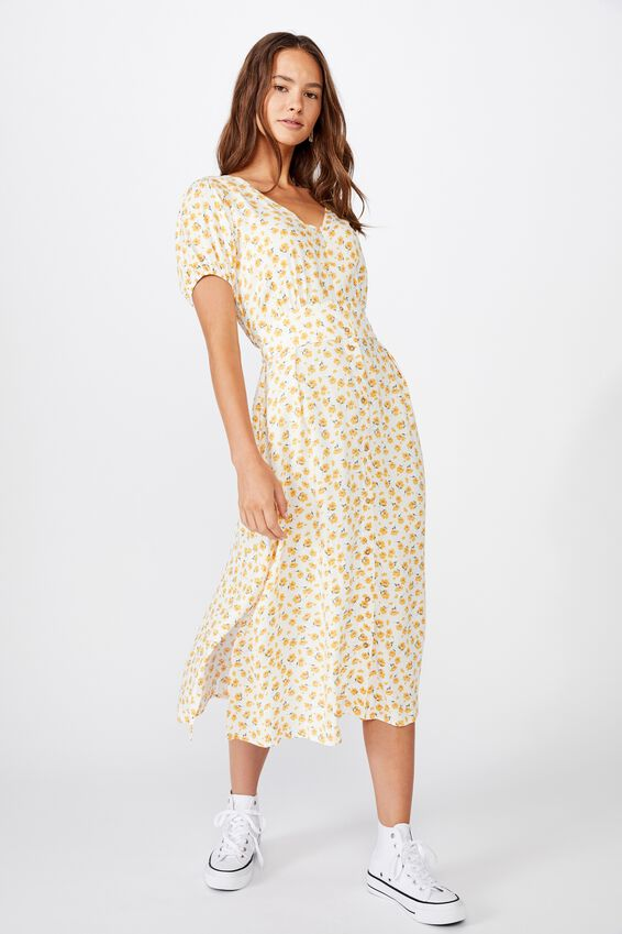 Woven Chloe Puff Sleeve Midi Dress, CHLOE DAISY WHITE