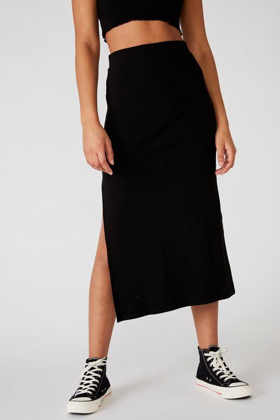 Bella Rib Midi Skirt, BLACK