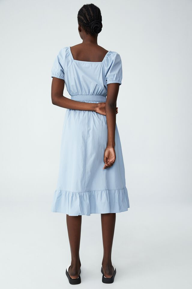 Woven Everly Short Sleeve Midi Corset Dress, WAVE WASHED BLUE