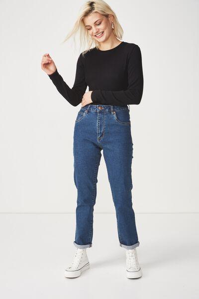 Baby Tee Long Sleeve Bodysuit, BLACK