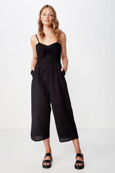 Woven Tabatha Tie Front Culotte Jumpsuit, BLACK