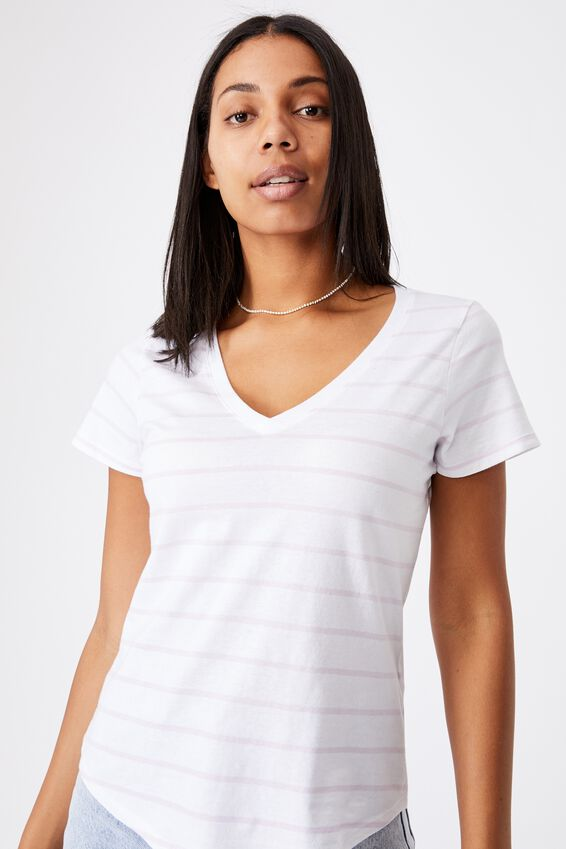 The One Fitted V Tee, ZOE STRIPE WHITE/SOFT LILAC