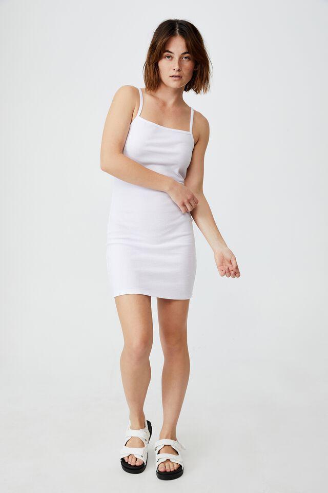 Finn Straight Neck Strappy Mini Dress, WHITE
