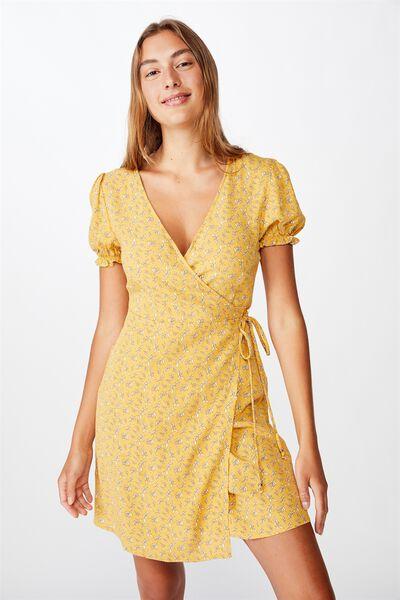 Woven Amy Wrap Mini Dress, JENNY LEAF HONEY GOLD