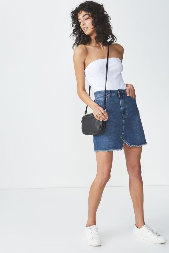 The Re-Made Mini Denim Skirt, MID BLUE 2