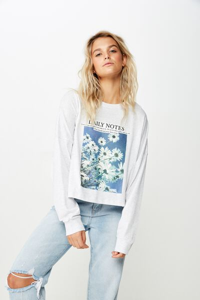 Tbar Brianna Graphic Long Sleeve, DAILY NOTES/SILVER MARLE