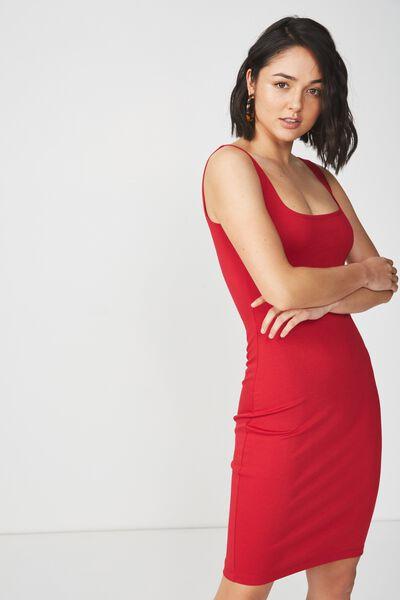 Kimi Scooped Bodycon Midi Dress, JESTER RED