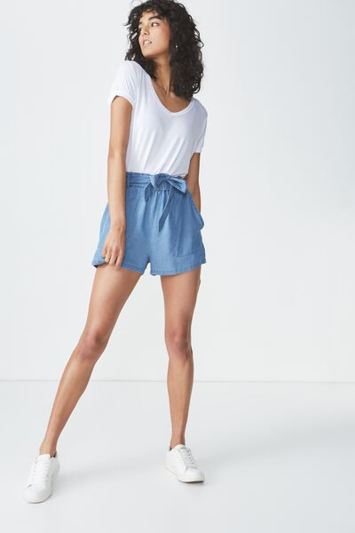 High Waist Short, MID BLUE