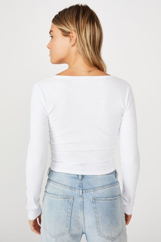 Lincoln Henley Long Sleeve Top, WHITE