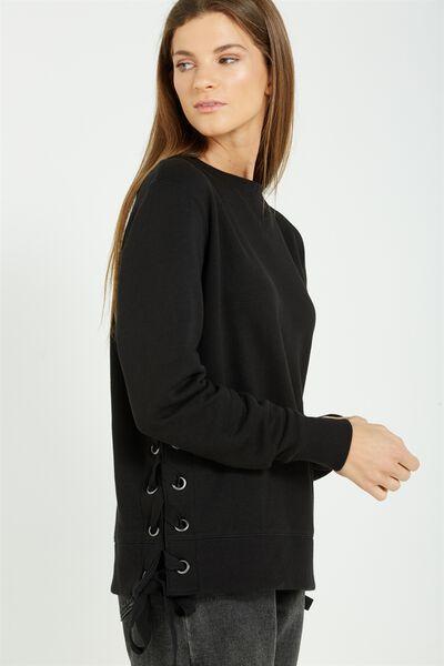 Larissa Lace Up Sweater, BLACK