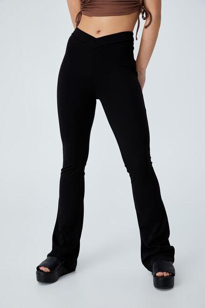 V Front Pull On Pant, BLACK