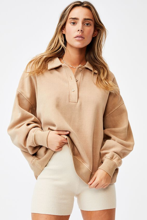 Classic Rugby Fleece Pullover, CARAMEL BROWN GARMENT PIGMENT DYE