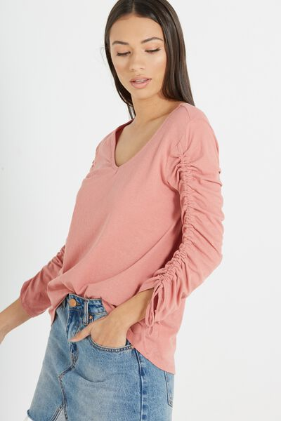 Alice Rouched Long Sleeve Top, BLUSH