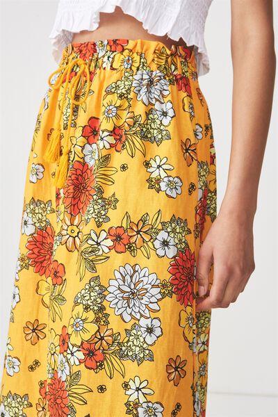 Woven Marnie Midi Skirt, LISA FLORAL FLAME ORANGE