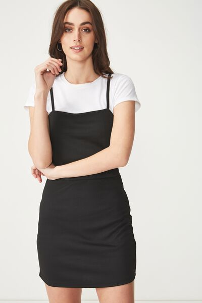 Gia Strappy Pinafore Dress, BLACK