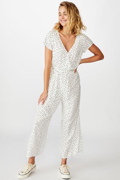Woven Janine Short Sleeve Jumpsuit, DAISY SPOT WHITE