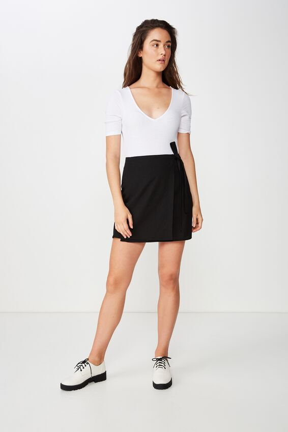 Woven Heidi Wrap Mini Skirt, BLACK