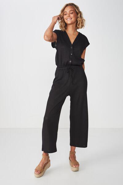 Dea Wide Leg Jumpsuit, BLACK