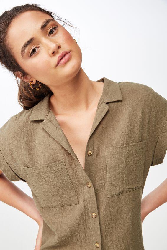 Emily Chopped Short Sleeve Shirt, BURNT OLIVE TEXTURE