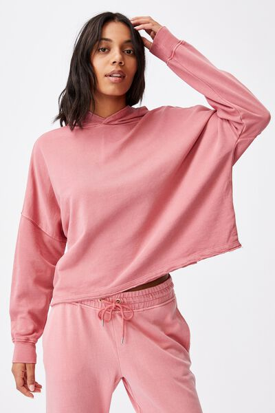 Clubhouse Hoodie, RUBY PINK GARMENT PIGMENT DYE