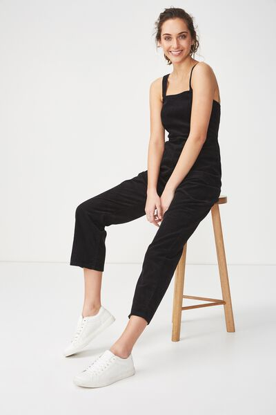 Pinafore Jumpsuit, BLACK CORD