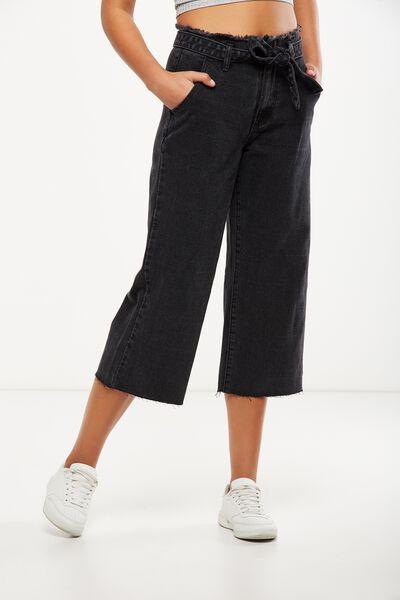 Mid Rise Wide Leg Crop Jean, WASHED BLACK TIE WAIST