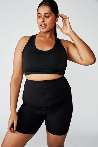 Curve Workout Cutout Crop, BLACK