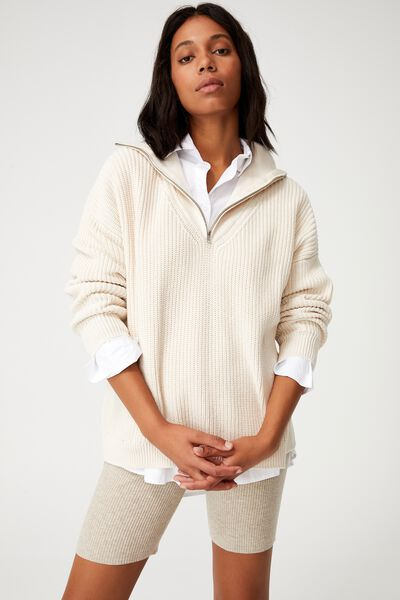 Cotton Dad Half Collar Pullover, SAND STONE MARLE