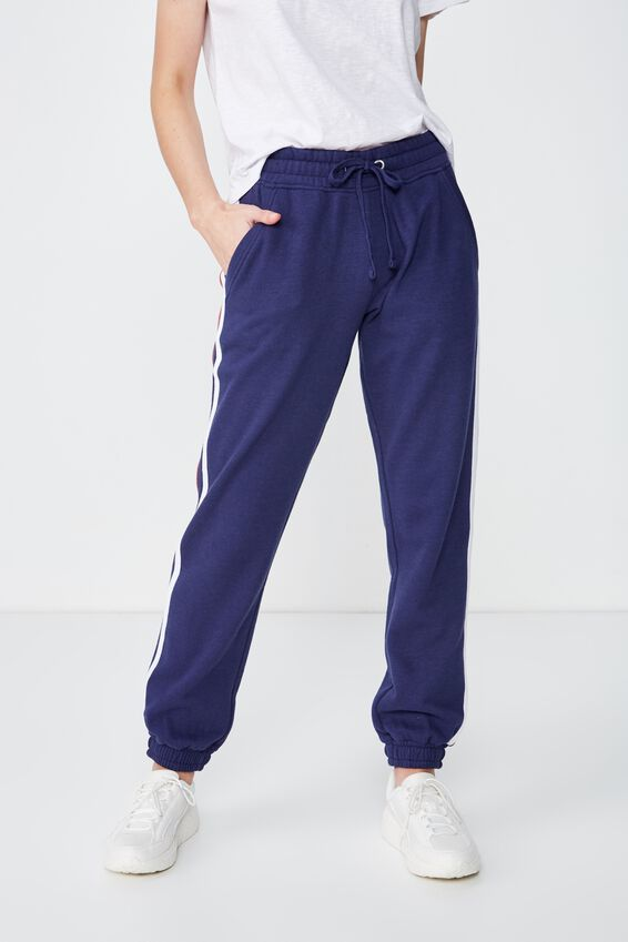 Slim Fit Trackpant, INDIGO/JESTER RED/WHITE TIPPING