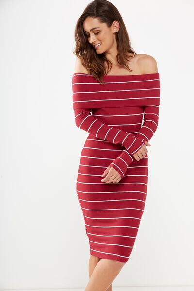 Alisa Long Sleeve Off The Shoulder Dress, ROSE BUD/WHITE WIDE STRIPE