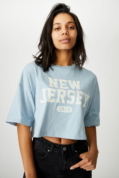 Chopped Boyfriend Tee, NEW JERSEY/SUNFADED DENIM