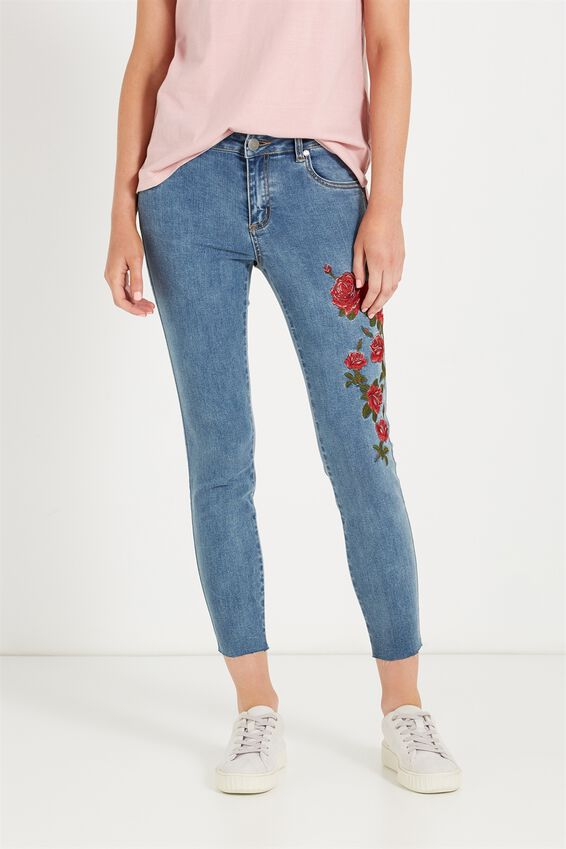 Mid Rise Grazer Skinny Jean, ROSE RED BLUE EMBROIDERY