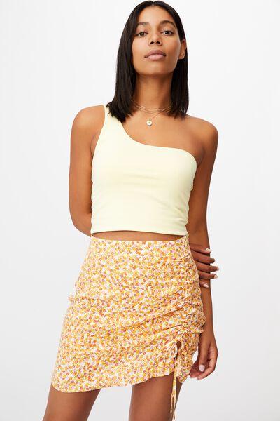 Lola Ruched Side Mini Skirt, QUINN DITSY WHITE MANGO