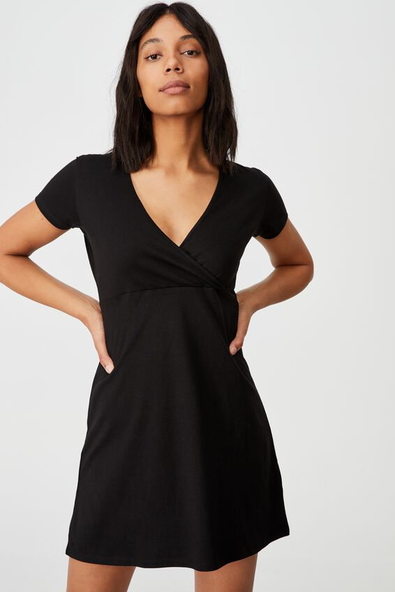 Bessie Cross Over Mini Dress, BLACK