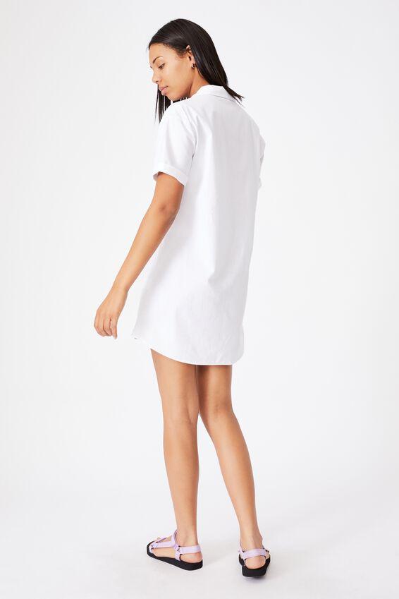 Woven Lola Button Shirt Dress, WHITE