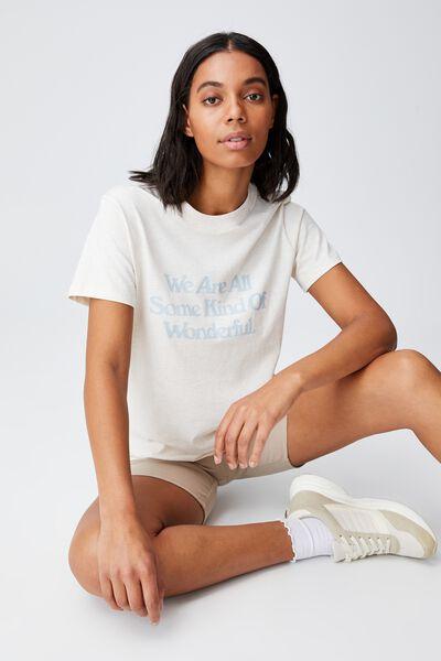 Classic Slogan T Shirt, SOME KIND OF WONDERFUL/GARDENIA MARLE